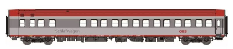 Schlafwagen WLABmz AB32s, grau/hellgrau, rotes Dach, ÖBB, H0