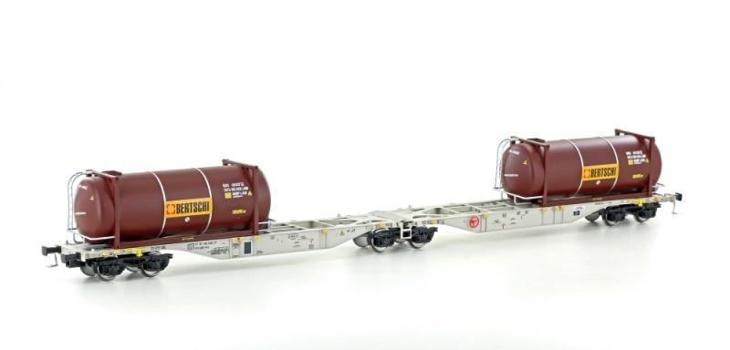 Containertragwagen Sggmrss 90 der HUPAC, DC, Spur H0