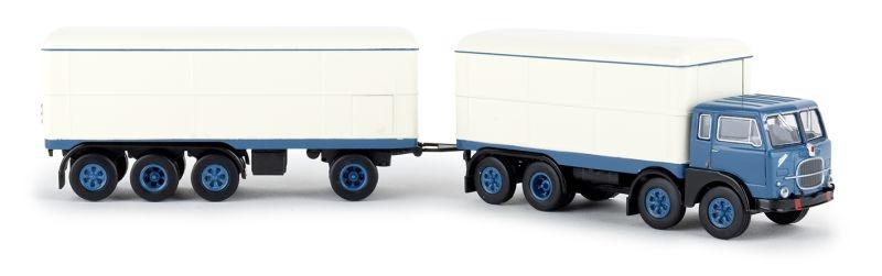 Fiat 690 Millepiedi blau, weiss, Kofferzug, 1:87 / H0