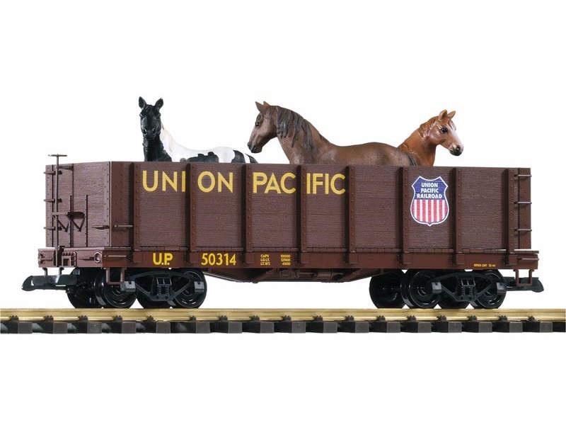 Hochbordwagen der Union Pacific mit Pferden beladen, Spur G