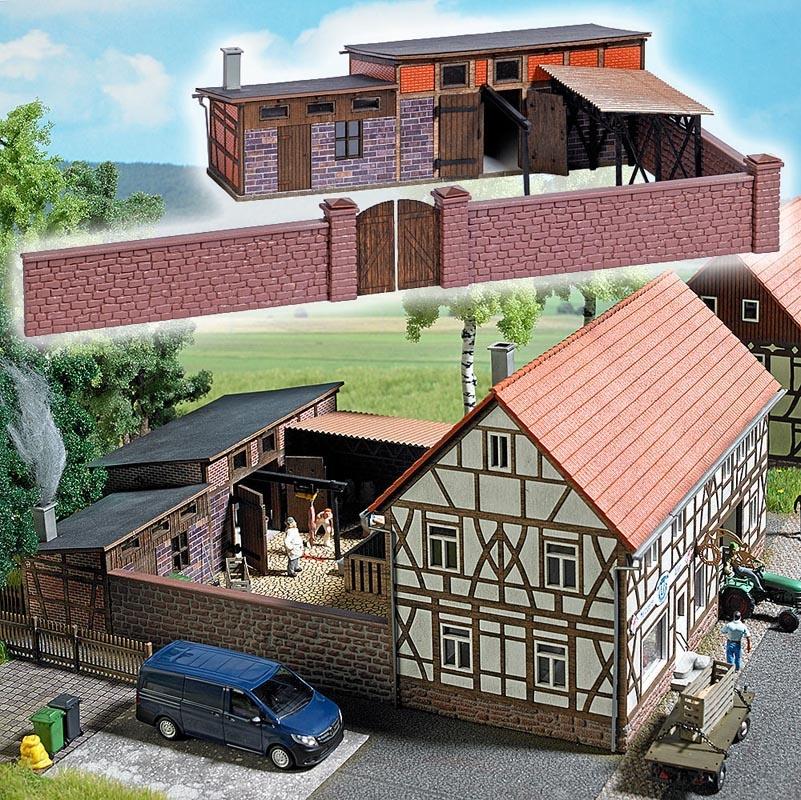 Hinterhofgebäude (Schlachterei) Bausatz, Spur H0