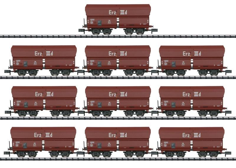 Display mit 10 Selbstentladewagen Erz IIId, Minitrix Spur N