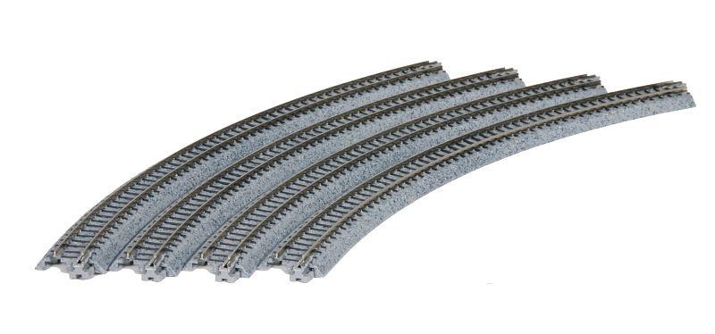 Gleis gebogen R 348-45°, 4 Stück, Spur N