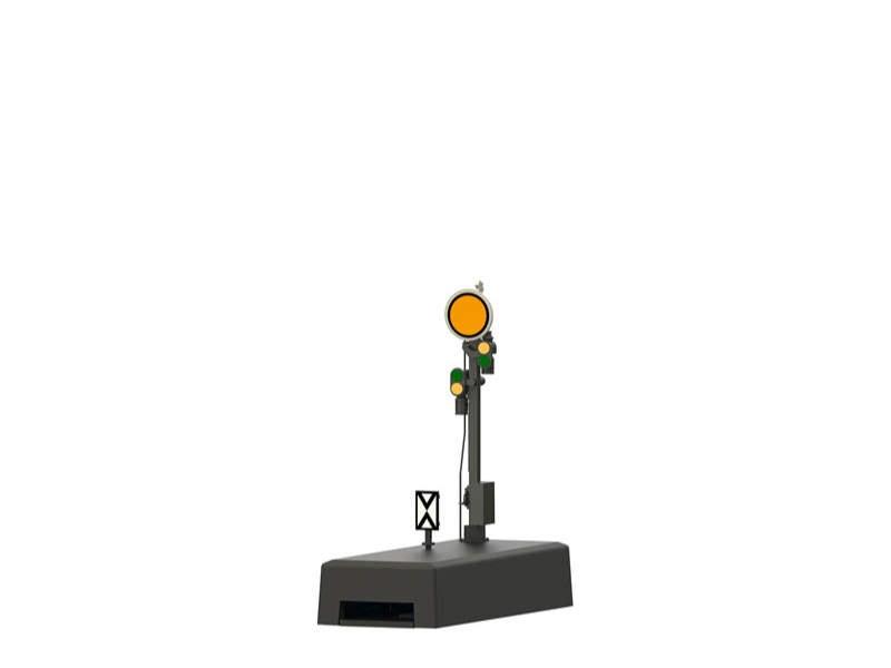 Form-Vorsignal Grauer Mast mit stellbarer Scheibe H0