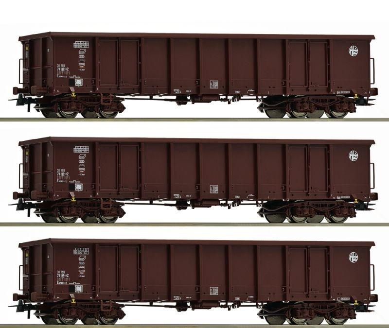 Offene Güterwagen Eanos der HZ, 3er-Set, Epoche VI, Spur H0
