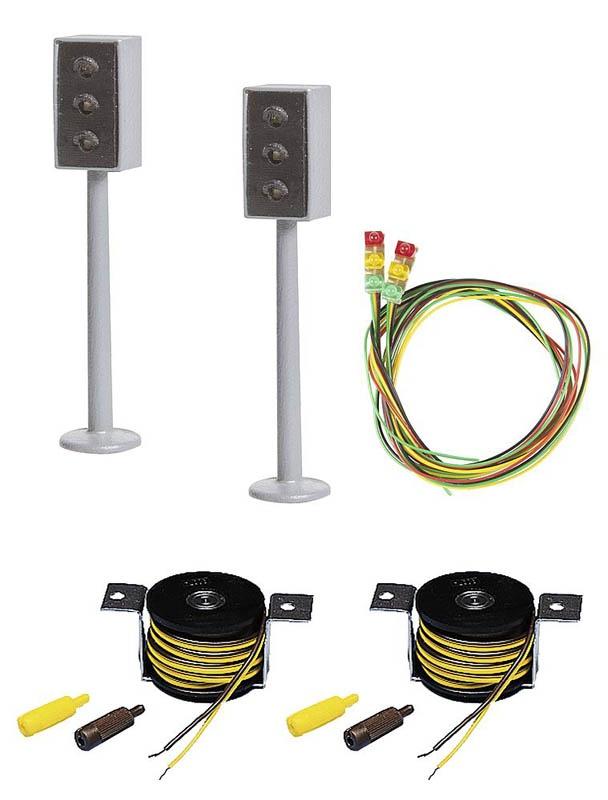 2 LED-Ampeln mit Stopp-Stelle Car System H0