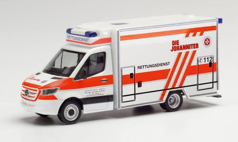 MB Sprinter `18 Fahrtec-RTW Die Johanniter Hamburg 1:87 H0