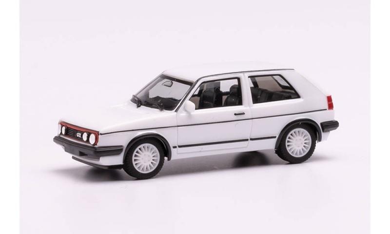 VW Golf II GTI mit Sportfelgen, weiß, 1:87, H0