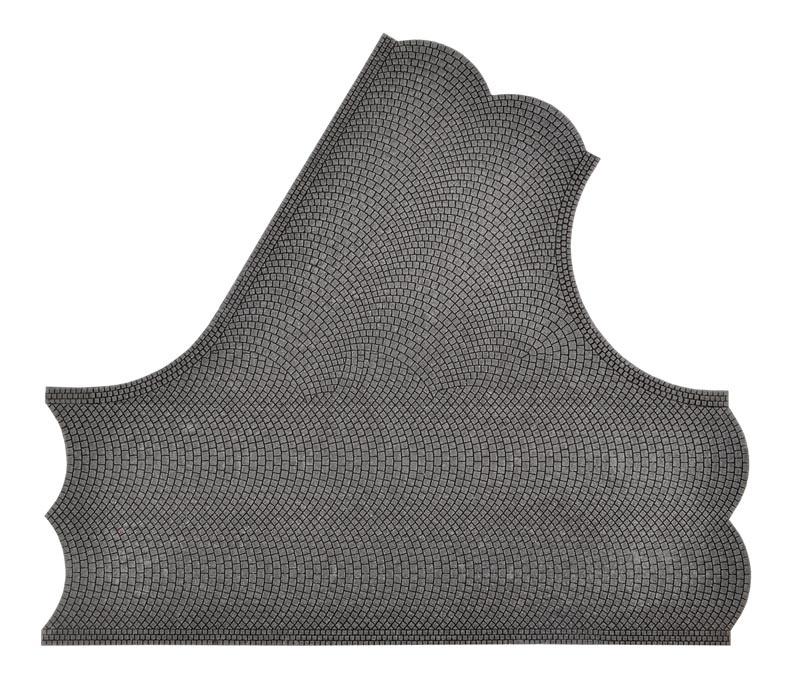 Straßenplatte Kopfsteinpflaster, 60°-Einmündung, Spur H0