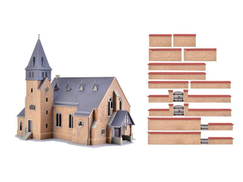 Kirche aus dem Westerwald mit Mauer, Bausatz, Spur H0