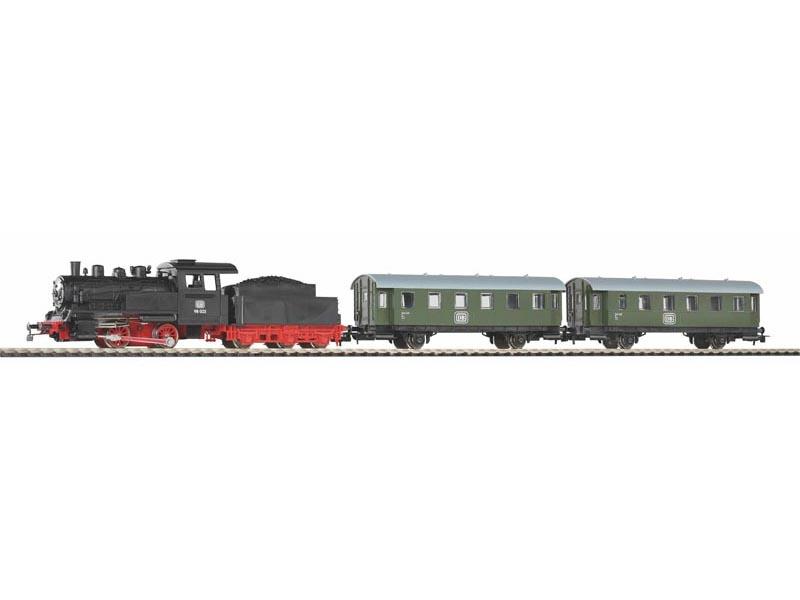Start-Set mit Bettung Personenzug Dampflok mit Tender, H0
