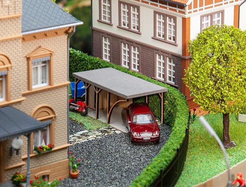 Carport Lasercut-Modell Bausatz, Spur H0