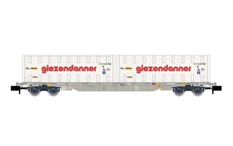 4-achs. Containerwagen, WASCOSA, 2 Container Giezendanner, N