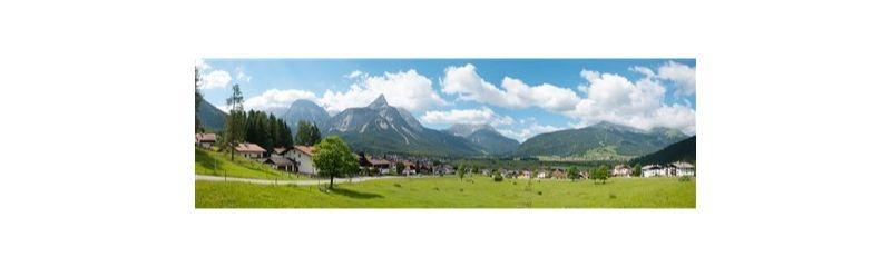 Hintergrundkulisse Alpenvorland, dreiteilig, 266 x 80 cm