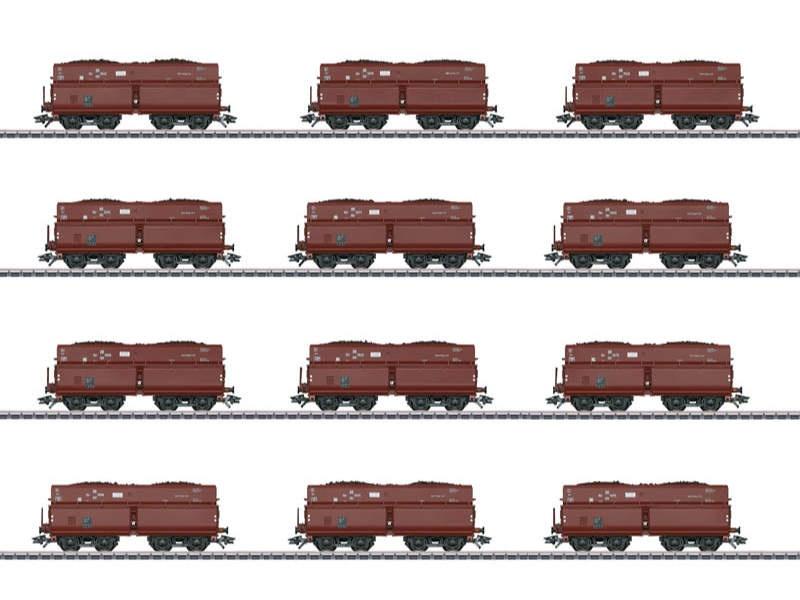 Selbstentladewagen-Set mit 12 Wagen DR H0