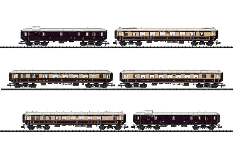 Schnellzugwagen-Set Rheingold der DRG, DC, Minitrix Spur N