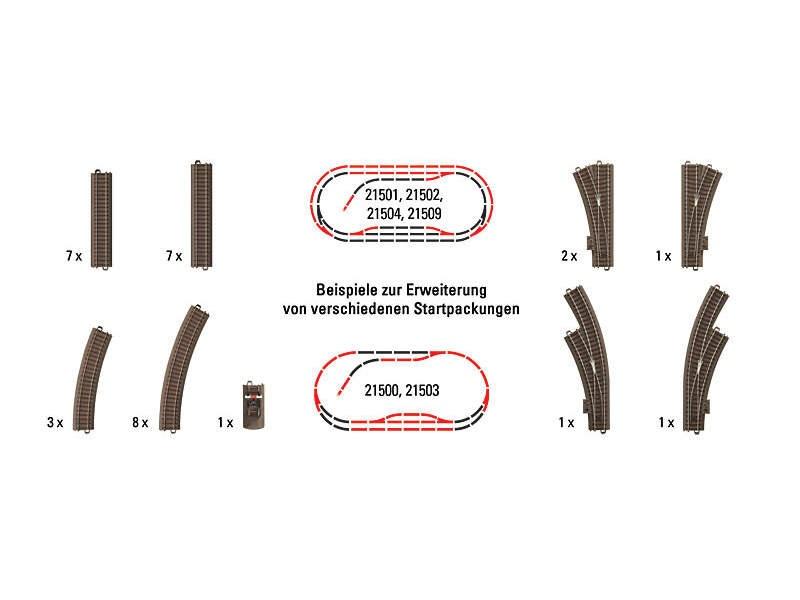 Großes Gleis-Ergänzungs-Set für Startpackungen Trix H0