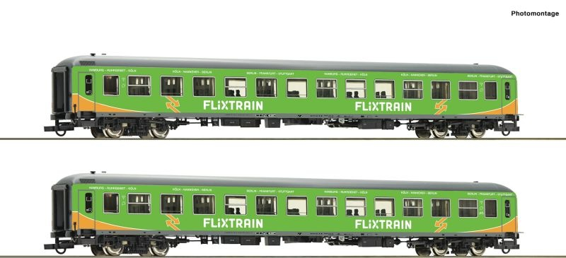2-tlg. Set: Personenwagen der Flixtrain, DC, Spur H0