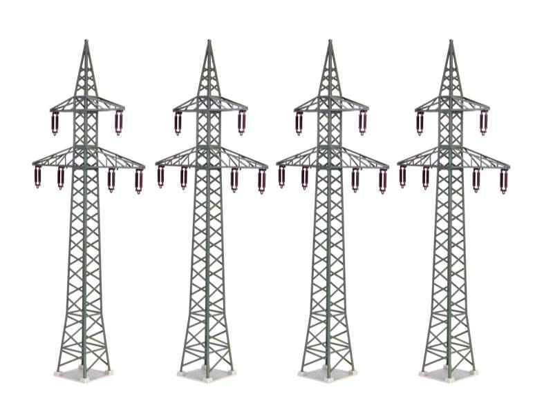 Deko-Set Strommasten, 4 Stück, Bausatz, Spur H0