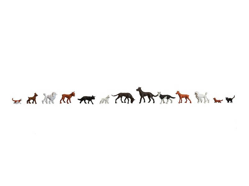 Hunde + Katzen Figuren H0