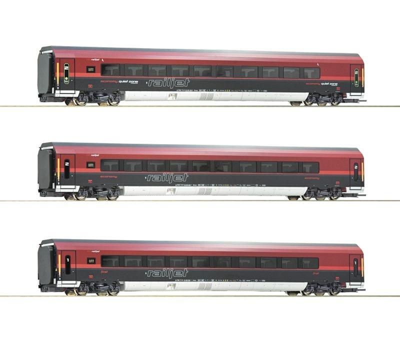 3-teiliges Wagenset Railjet der ÖBB, Beleuchtung, DC Spur H0