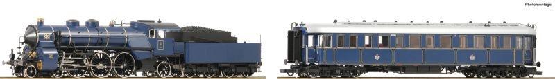 2-tlg. Set: Dampflokomotive S 3/6 & Salonwagen, DC, Spur H0