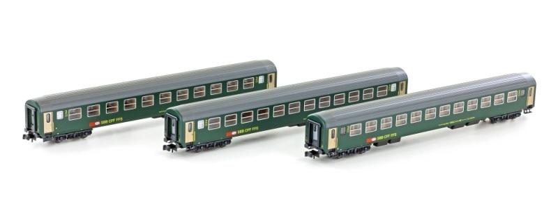 3er Set RIC Personenwagen Bm, 2.Kl. SBB, Ep.IV-V, Spur N