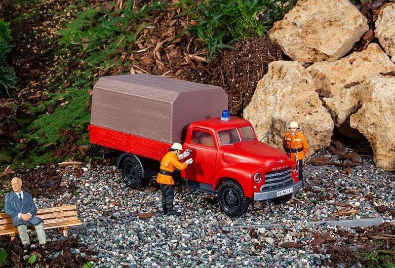 Feuerwehrfahrzeug Opel Blitz mit Pritsche, Bausatz, Spur G