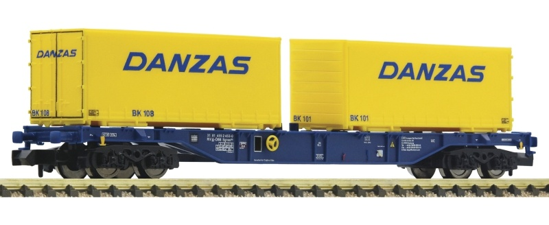 Containertragwagen Sgns ÖBB + 2x Wechselpritschen, Spur N