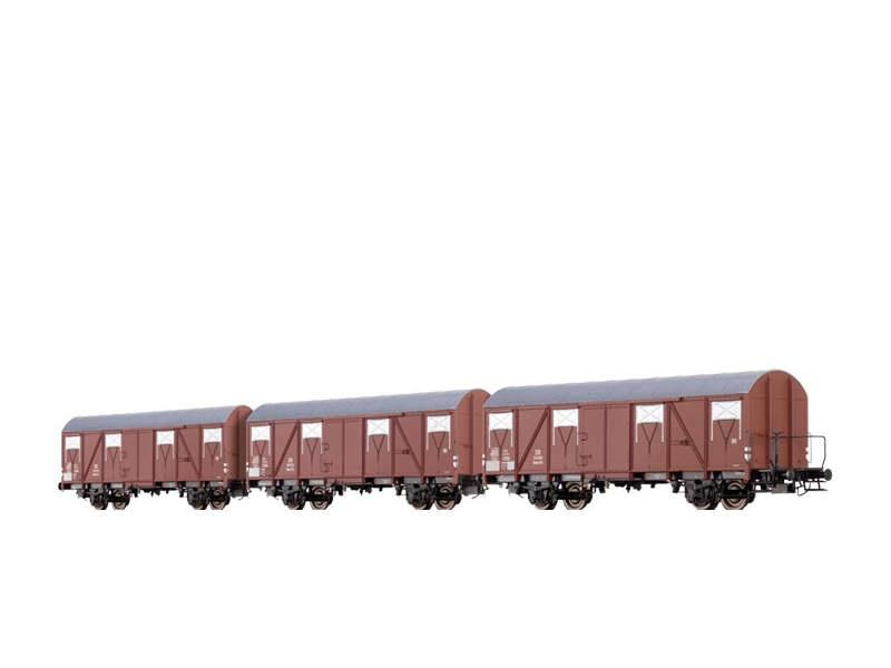 Gedeckter Güterwagen Glmhs50 der DB, III [3er-Set], Spur N