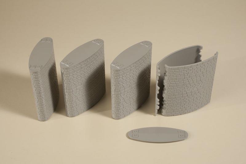 Brückenpfeiler oval, 4 Stück, Bausatz, Spur H0
