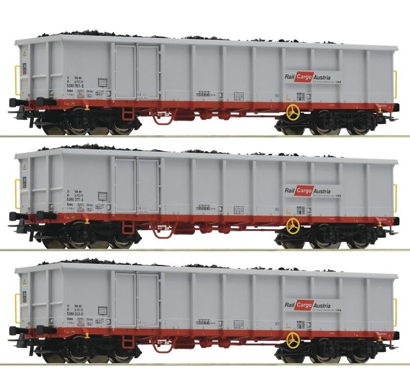 3-tlg. Set:Offene Güterwagen Eanos der ÖBB, DC, Spur H0