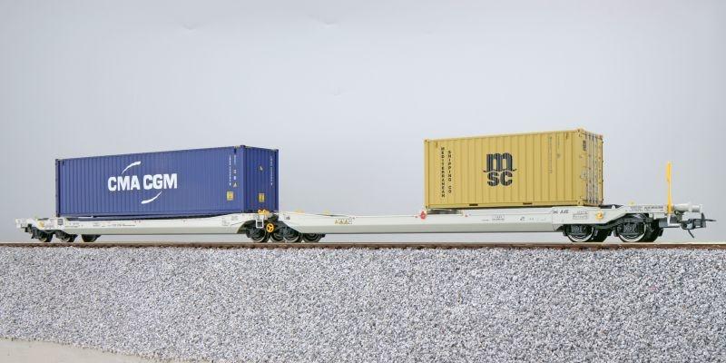 Taschenwagen Sdggmrs NL-AAEC + Container CMAU/MEDU, DC, H0