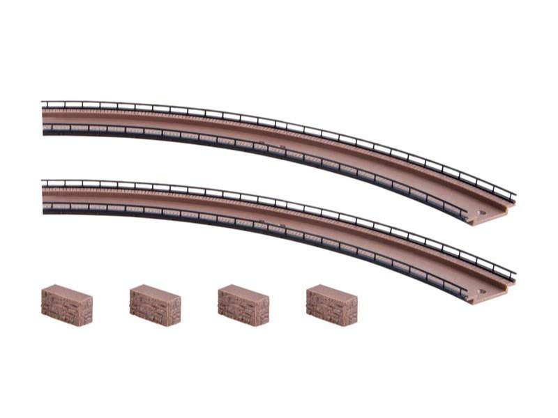 Fahrbahn gebogen, 2 Stück, Bausatz Spur N