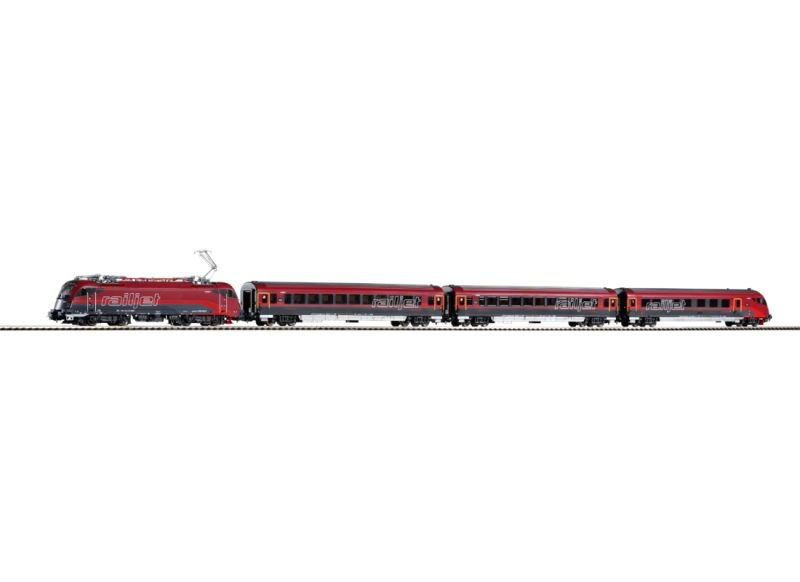 Zugset Railjet Rh1216 + 3 Wagen der ÖBB, AC-Version, Spur H0