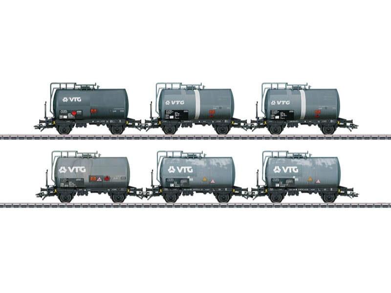 Kesselwagen-Set mit 6 Wagen Bauart Zs VTG gealtert H0
