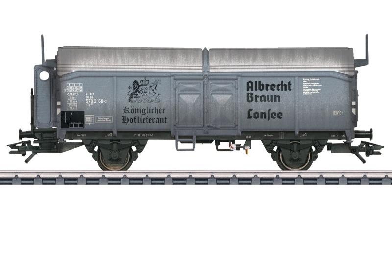 Zweiachsiger Schiebedachwagen der Bauart Kmmks 51, AC, H0