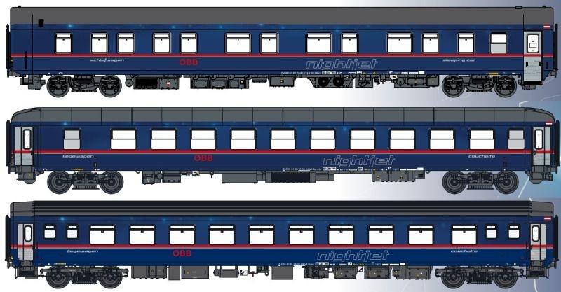 3er Set 2 Nachtzugwagen ÖBB nightjet, Ep.VI, Set B EN470, H0