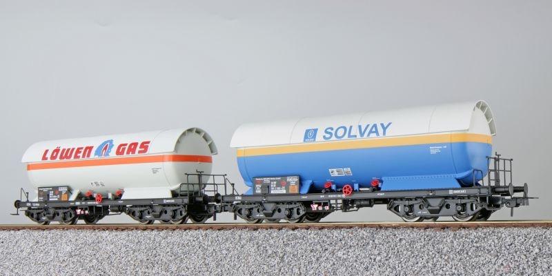 Gas-Kesselwagen Set ZAG 620, Solvay/Löwengas, DB, DC, H0
