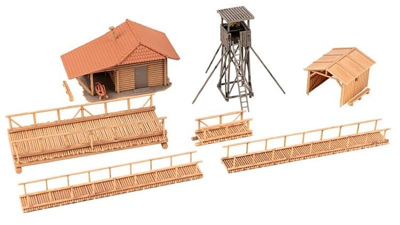 Jagdhütte mit Hochsitz Bausatz, Spur H0