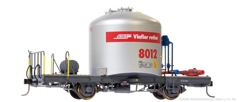 Zementsilowagen mit Verrohrung Uce 8023 der RhB, Spur 0m