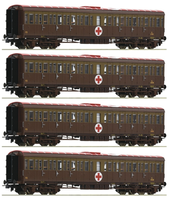 4er Set Centoporte Lazarettzug der FS, DC, Spur H0