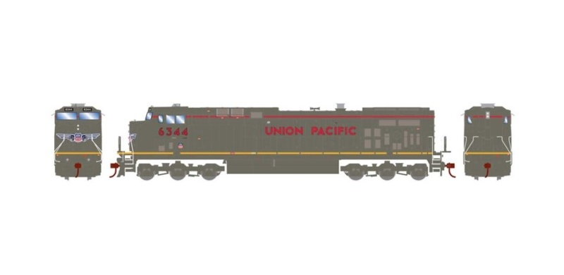 Diesellokomotive AC4400CW #6344 der UP, DC, Spur H0