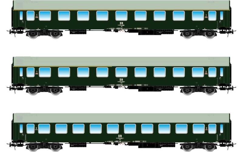 3-tlg. Set Pannonia-Express (A, AB, B), grün, DR, DC, H0