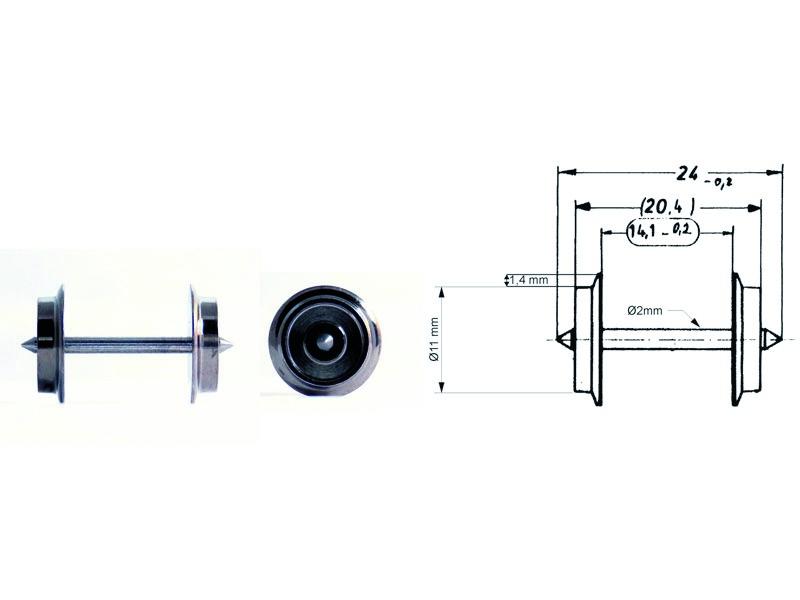 Wechselstrom-Tauschradsatz 24 mm H0