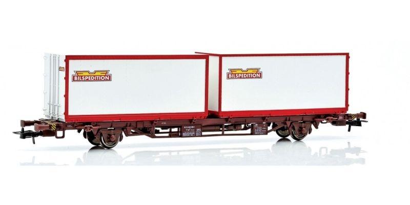 Topline Containertragwagen Lgjns mit Bilsped Containern,H0