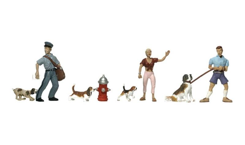 Hunde und Halter Figuren, Spur H0