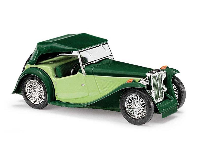 MG Midget TC, Cabrio zweifarbig, Grün, Spur H0