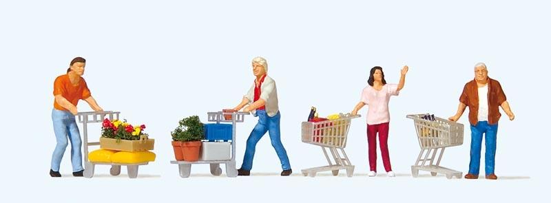 Kunden mit Einkaufswagen 1:87 / H0