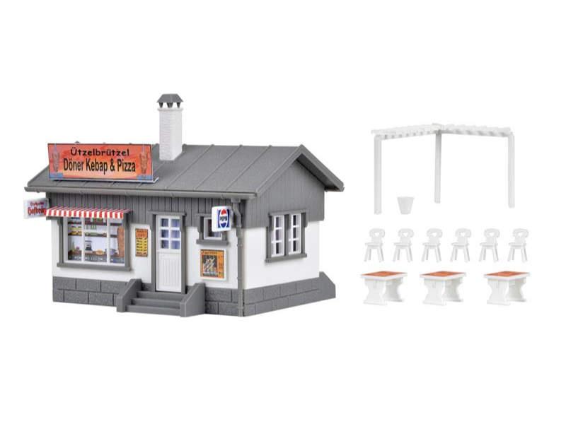 Imbiss-Stand Döner und Pizza, Bausatz, Spur H0